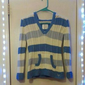 Girls Justice sz 12 blue and white sweater hoodie